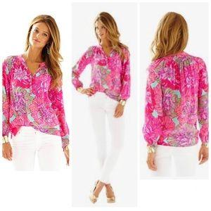 Lilly Pulitzer Elsa Silk Top Worth It Shirt XL